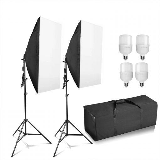 kit studio photo débutant - 2 ampoules - 2 supports - parapluies éclairage
