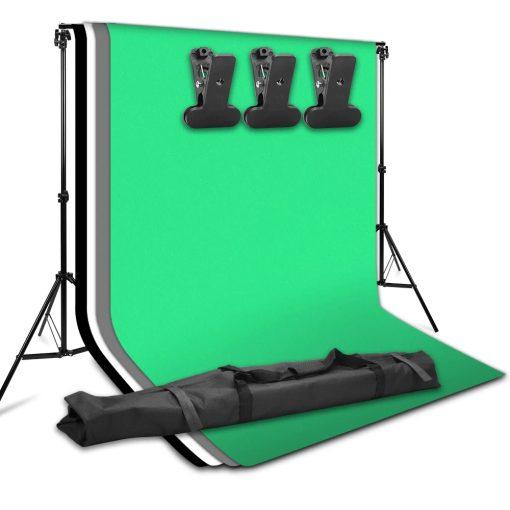 kit studio photo débutant - 2 ampoules - 2 supports - parapluies fond